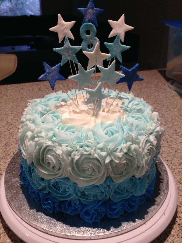 Layered blue Frozen cake #7thbirthday