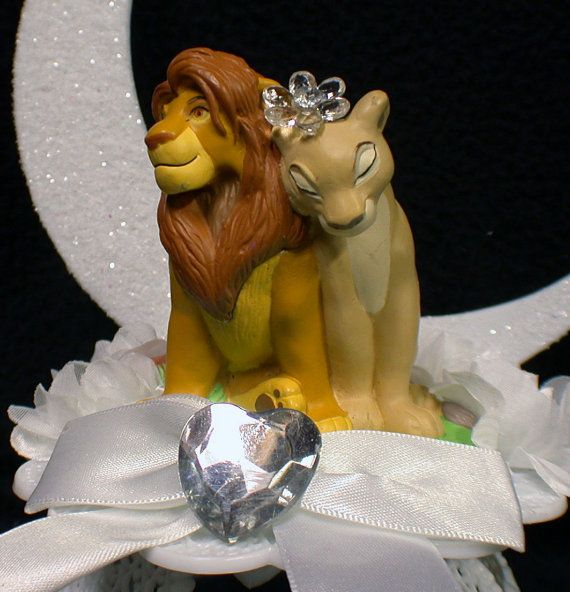 Lion King DISNEY Wedding Cake Topper LOT Glasses by