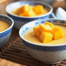 This mango pudding is one of the best I've tried. What makes it extra good is the fact that it is made with coconut milk instead of whipping cream or evaporated milk. Unlike dairy products, coconut milk brings out and enhances the taste of the mango, plus adds that touch of richness you're looking for in a pudding. There's another benefit too: it's healthier for you (lactose free, plus it provides healthy fats). And this Thai recipe for mango pudding is really easy to make - give it a try!