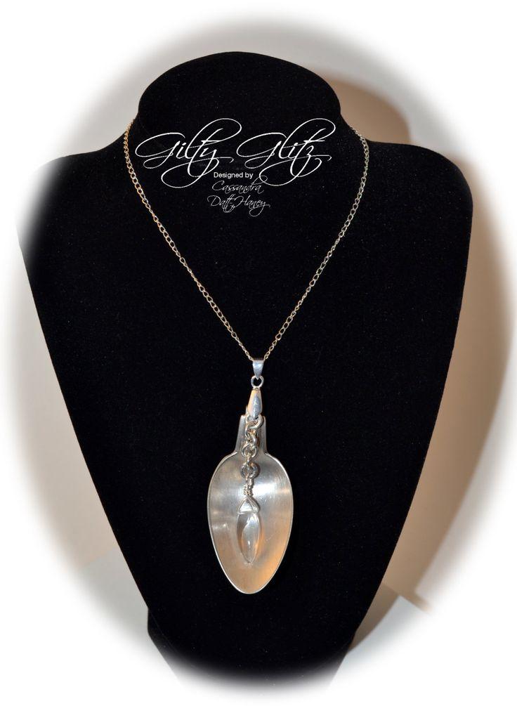 Handmade silver plate vintage repurposed spoon pendant by GiltyGlitz on Etsy