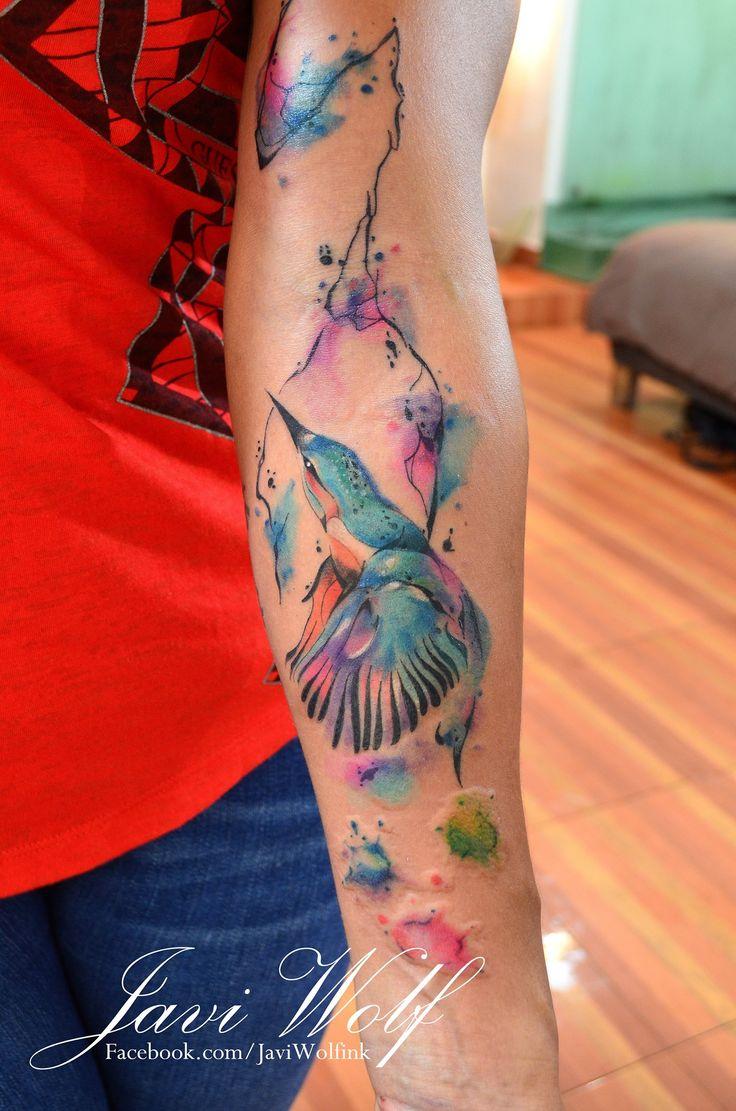 De colibri en la espalda significado tatuaje colibri tatuaje tattoo - Colibr En Rama Acuarelas By Javi Wolf Tatuajes Para Mujeres