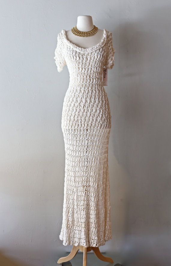 Vintage 1930's Crochet Wedding Dress ~ Vintage 30s Ribbon Knit Fitted Wedding Gown