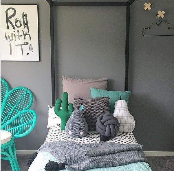 grey and green kids room