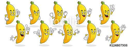 "Download the royalty-free vector ""Banana mascot, Vector set of banana characters. Banana logo"" designed by ednal at the lowest price on Fotolia.com. Browse our cheap image bank online to find the perfect stock vector for your marketing projects!"