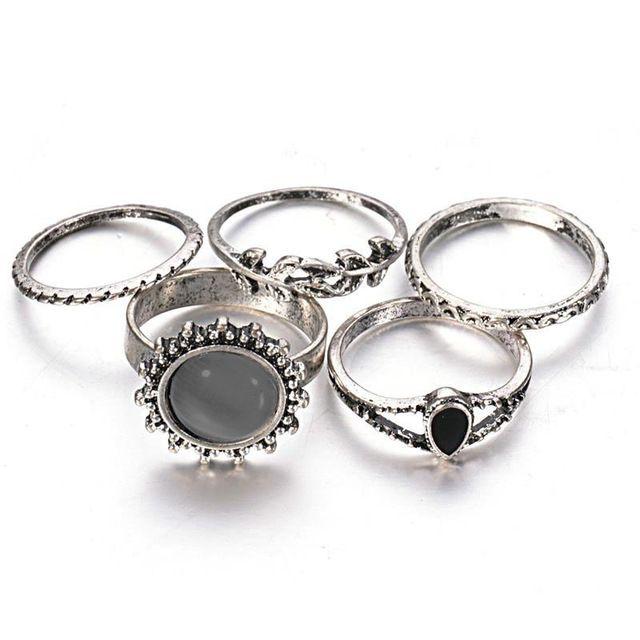 Inner Dia 16 mm - 17.5 mm conjunto de 5 boi antigo forma de folha de prata Retro Vintage Opal pedra anéis Set para as mulheres 2015 moda jóias