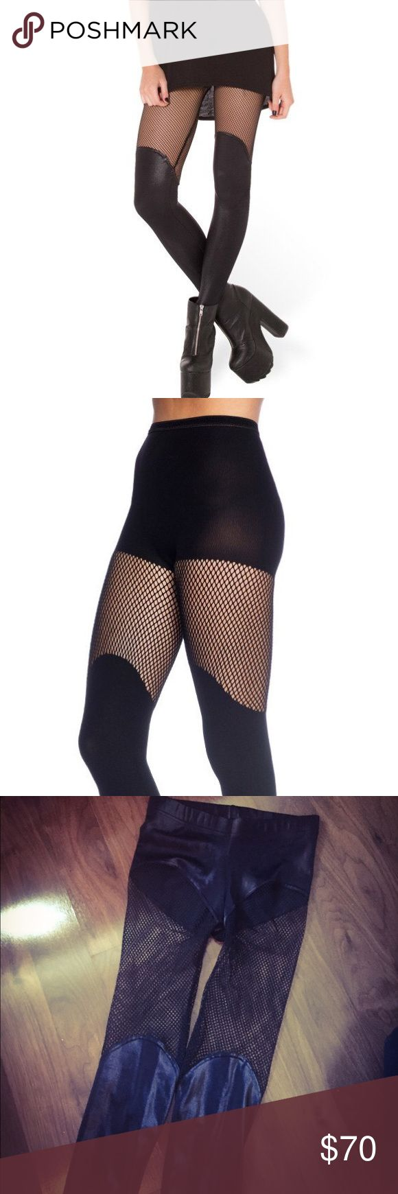 Black Milk Fishnet Leggings Out of stock on their website, may not be returning. Stunning fishnet leggings. Labeled a large but this style fits more like a medium, so listed accordingly. Edgy, sexy and head turning. Perfect condition, Black Milk Pants Leggings