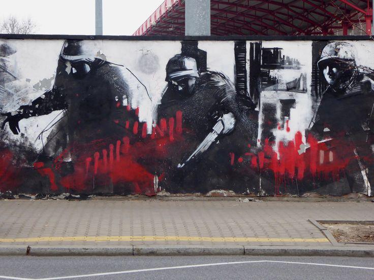 Warsaw Uprising street art outside the Polonia Warszawa stadium....
