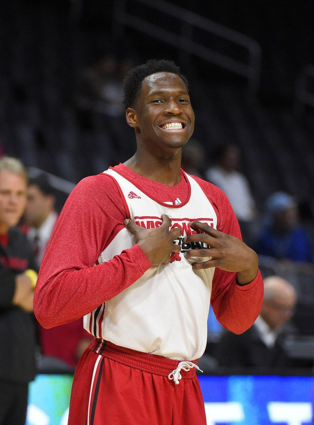 """This is No. 1-ranked University of Wisconsin Badgers basketball player Nigel Hayes.   College Basketball Player Thought His Mic Was Off When He Called A Woman """"Beautiful"""""""