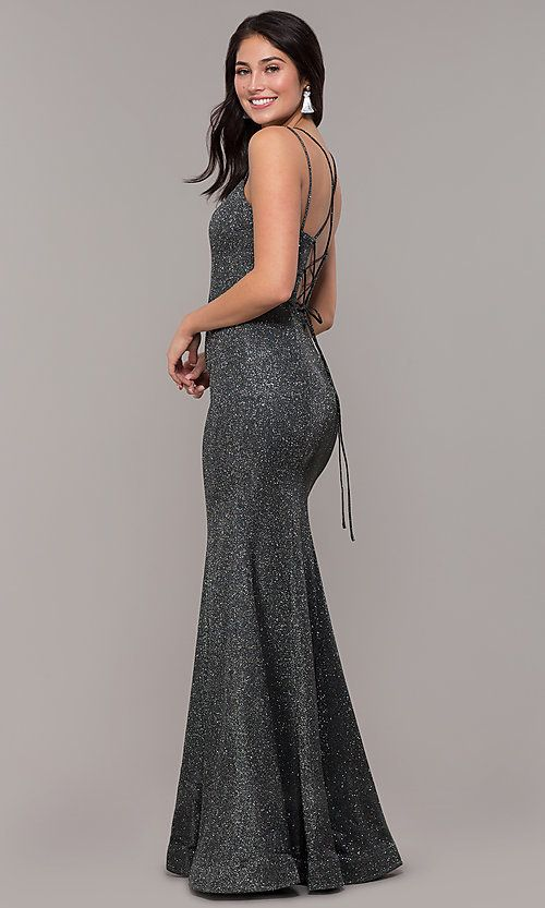 6f9e8a198d7c6 Image of metallic jersey lace-up-back mermaid prom dress. Style: DQ-2698  Detail Image 5