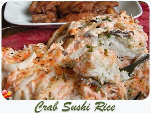 Try this local favorite imitation Crab Sushi Rice with Tobikko. Great for potlucks. Get more local style recipes here.