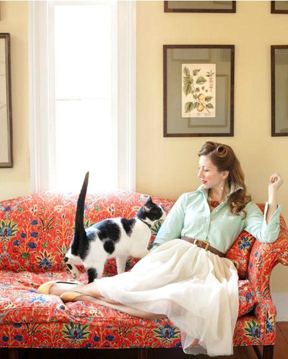 Fantasy life - glamorous, katherine hepburn esque, un-crazy cat lady, lounging on my floral loveseat