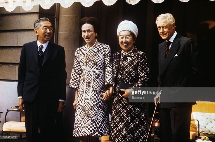 Emperor Hirohito and his wife Empress Nagako of Japan pose with the Duke and Duchess of Windsor at the Windsors' Paris home in the Bois de Boulogne. The Emperor made a special private request to meet again the Duke whom he met when both were heirs to their countries' thrones, 50 years ago. (The Duke succeeded to the throne of Britain in 1936 but abdicated to marry a divorce).