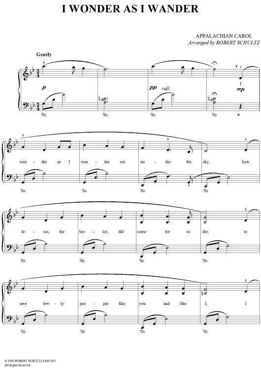 John Jacob Niles - I Wonder as I Wander sheet music