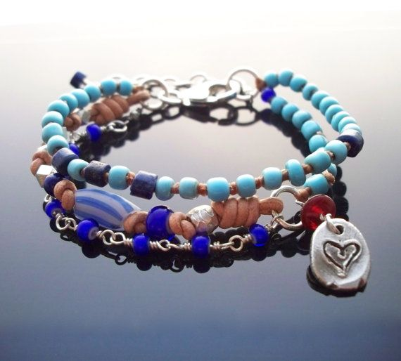 Blue+bead+bracelet+African+trade+beads+jewelry+Multi+by+namDDesign,+$75.00