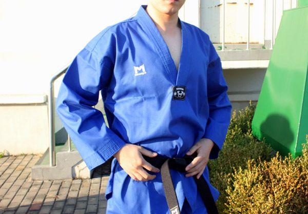 TKD TaeKwonDo uniforms Moospo uniform MASTER DOBOK BLUE+BLACK BELT Kukkiwon…