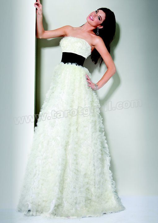 Amazing Styles Empire Strapless White Evening Dress