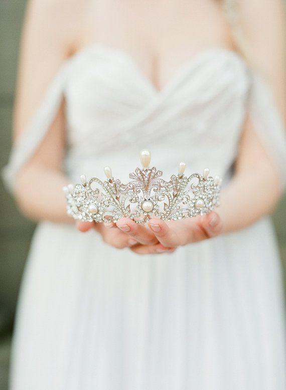 Full Bridal Crown with Pearls ALEXANDRA Swarovski Crystal #affiliatelink