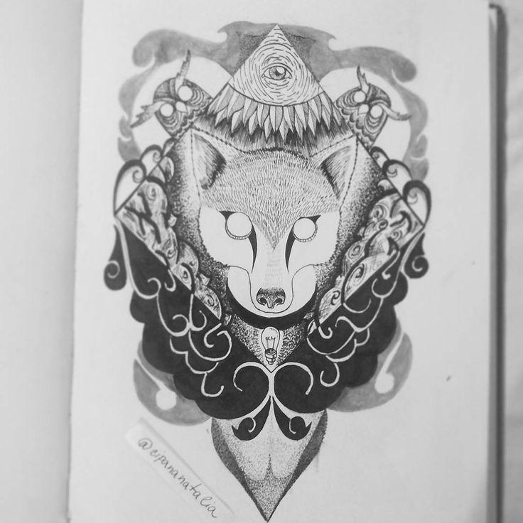 """Páči sa mi to: 13, komentáre: 3 – Natalia A.K.A cipana.natalia (@cipana.natalia) na Instagrame: """"Foxy - ink illustration A4 in moledkine. If you will print from these fox send me DM. #blackink…"""""""