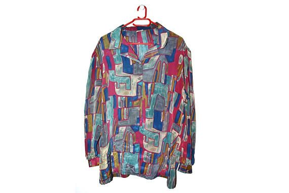 Vintage Plus Size Button Up Blouse Abstract Geometric Print