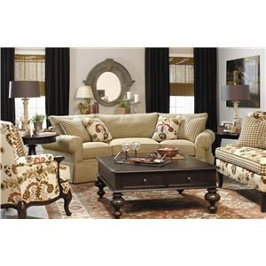 Paula Deen By Universal Paula Deen Home Casual Conversation Sofa With Skirt  #livingroom