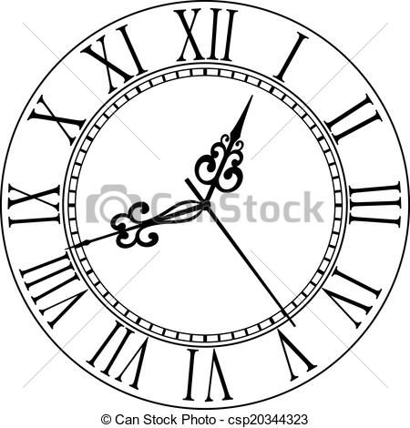 Vector - Old clock face with Roman numerals - stock illustration, royalty free illustrations, stock clip art icon, stock clipart icons, logo, line art, EPS picture, pictures, graphic, graphics, drawing, drawings, vector image, artwork, EPS vector art