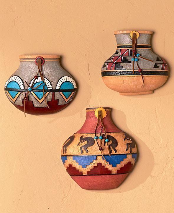 Western Southwest Decor Kokopelli Pottery Pots Wall Art Native American Style Ebay Southwestern Wall Decor Southwestern Decorating Home Wall Decor