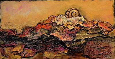 "CAROL NELSON FINE ART BLOG: Mixed Media Geologic Abstract, ""Golden Dawn"" by Carol Nelson Fine Art"