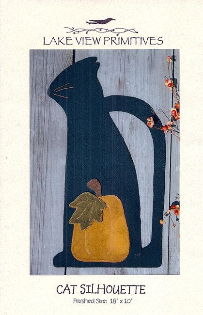 """Cat Silhouette by Lake View Primitives    Folk Art wool felt applique pattern Cat Silhouette is both attractive and easy to make. The pattern comes with detailed instructions and a supply list of all the materials you will need to complete the Cat Silhouette penny rug.    The pattern includes paper template pieces full size so there is no enlarging required.    The finished size of this penny rug is 18"""" x 10"""". 