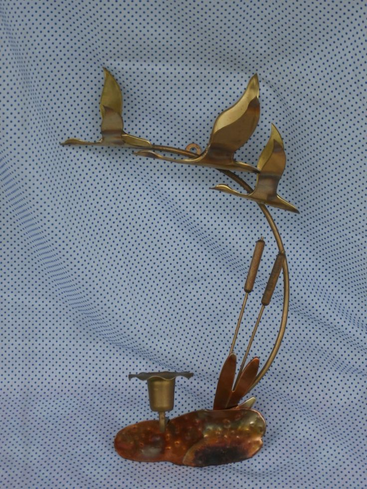 Brass Ducks in Flight and Cattails Wall Sconce, Vintage ... on Decorative Wall Sconces Candle Holders Chrome Nickel id=71722