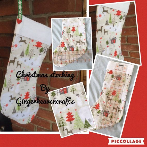 Great hand made Christmas stocking, this stocking can be personalised with a name, it is made from lovely soft flannel fabric, with a fun Christmas pattern, it is fully lined, and has been made with care and attention, It measure approximately 17 inches long by 9 inches wide and has a hanging loop. Will last for years to come and will be a treasured item to get out each Christmas. If you have any questions please feel free to ask.   I can make stockings larger or smaller and in different…