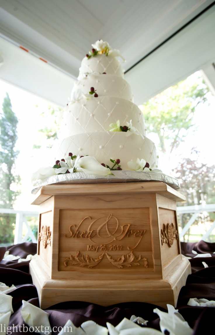 Custom Carved Hexagonal Wooden Wedding Cake Stand Memory Box In One Personalized 275 00