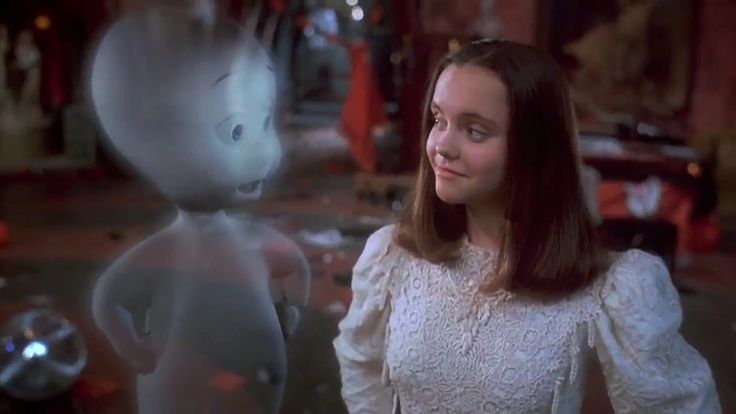 Casper (1995) Dir: Brad Silberling Stars: Bill Pullman, Christina Ricci, Cathy Moriarty, Eric Idle  A paranormal expert and his daughter bunk in an abandoned house populated by 3 mischievous ghosts and one friendly one.  Watch the movie here: https://www.youtube.com/watch?v=0u7AyHWLfOY