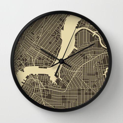 New York Map Wall Clock