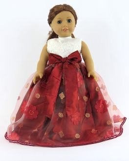 """Doll dress up. Gorgeous red and white full length 18"""" doll gown."""