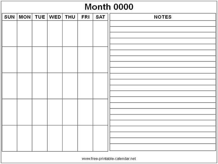 Weekly Calendar With Notes : Free printable monthly calendars google search helpful