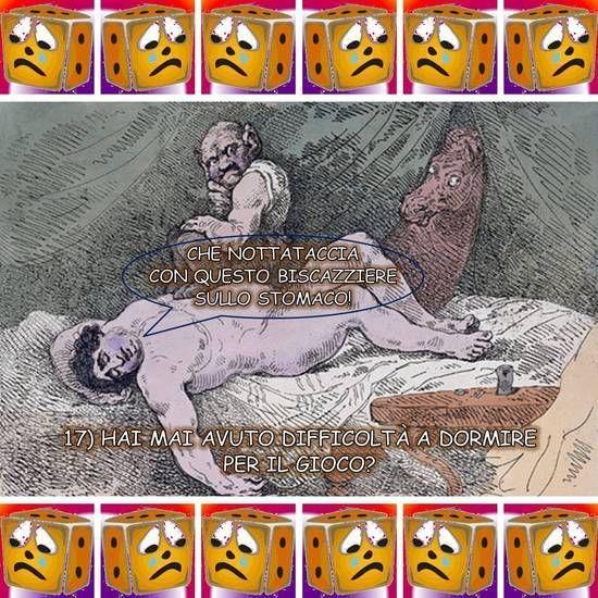 """CHE NOTTATACCIA CON QUESTO BISCAZZIERE SULLO STOMACO! Libera rivisitazione dell'opera """"The Covent Garden Nightmare"""" di Thomas Rowlandson (1784), suggerita dalla diciassettesima domanda di Giocatori Anonimi: """"Hai mai avuto difficoltà a dormire per il gioco?""""- Dalla raccolta """"Anche i quadri te lo chiedono"""" di Vittorio Gioco: rielaborazione a fumetti di dipinti guidata delle venti domande di Giocatori Anonimi."""