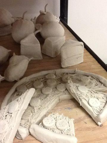 Pop art food sculptures with clay