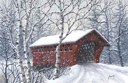 Winter Covered Bridge A Print From An Original Watercolor
