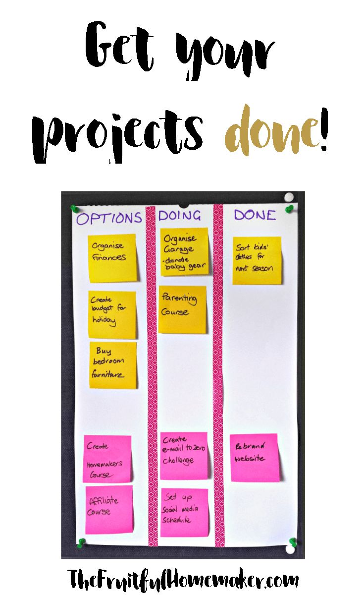 Get your projects done with this simple project board. Use the Personal Kanban System to visualize, prioritize and complete your projects at home. Great tool for time management for moms, great productivity tip for the home.