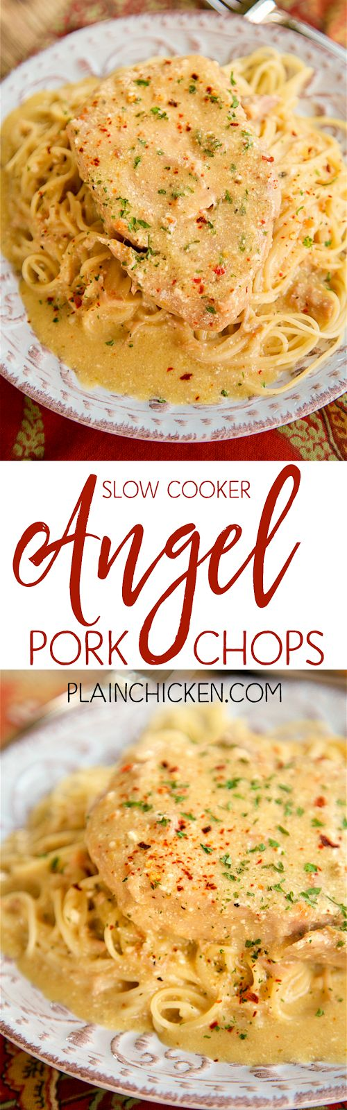 Slow Cooker Angel Pork Chops - THE BEST pork chops EVER! Everyone cleaned their plate!!! SO tender and full of flavor. Pork chops, Italian dressing mix, cream cheese, butter, cream of chicken soup and white wine/chicken broth. Serve over angel hair pasta. Make sure to spoon the sauce out of the slow cooker - it is SO good!!!