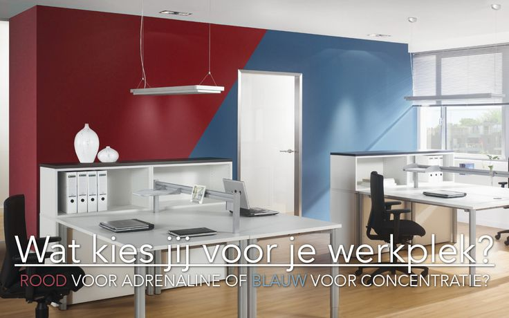 Welke kleur kies jij voor je #werkplek? #Rood zorgt voor adrenaline, #blauw geeft je #werknemers op #kantoor meer concentratie. #kantoorinrichting #officefurniture #Assmann