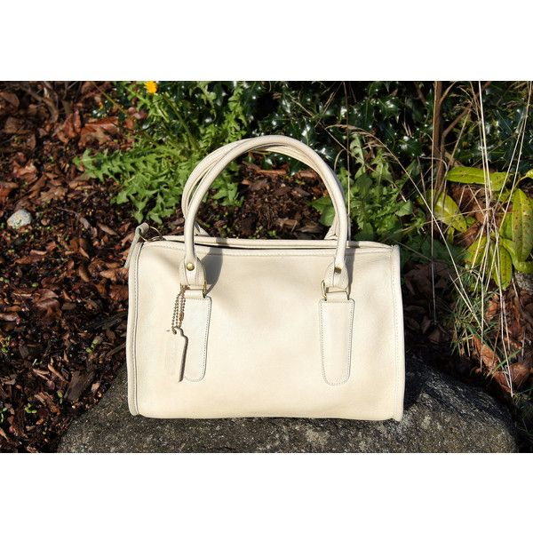 Authentic Coach Leather Handbag Bone White Speedy ($152) ❤ liked on Polyvore featuring bags, handbags, satchel handbags, hand bags, satchel purses, man bag and white purse