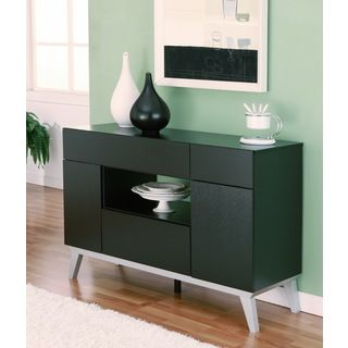 Furniture Of America Miura Modern Multi Storage Black Buffet Table By