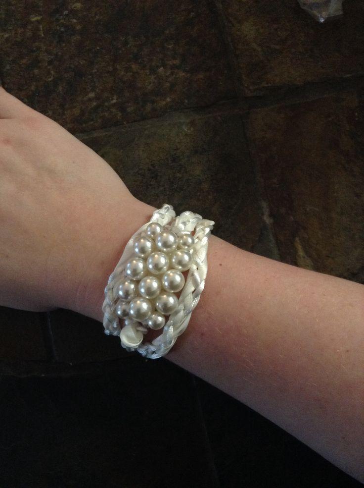 DIY ribbon, satin cord, and vintage pearl   bracelet