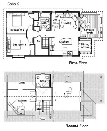 Small Homes by Ross Chapin Architects....3 br. Coho Cottage.  1218 sq ft.   1 story w full loft.