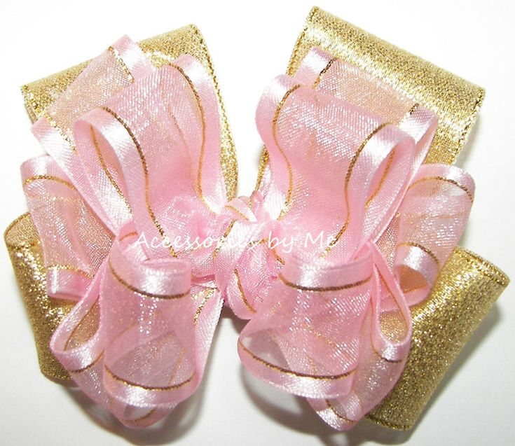 Pink Gold Hair Bow, Organza Satin Trim Hairbow, Metallic Lame Ribbon Clip, Baby Girl Toddler Kids Accessory, Wedding Party, Pageant Occasion by AccessoriesbyMe on Etsy