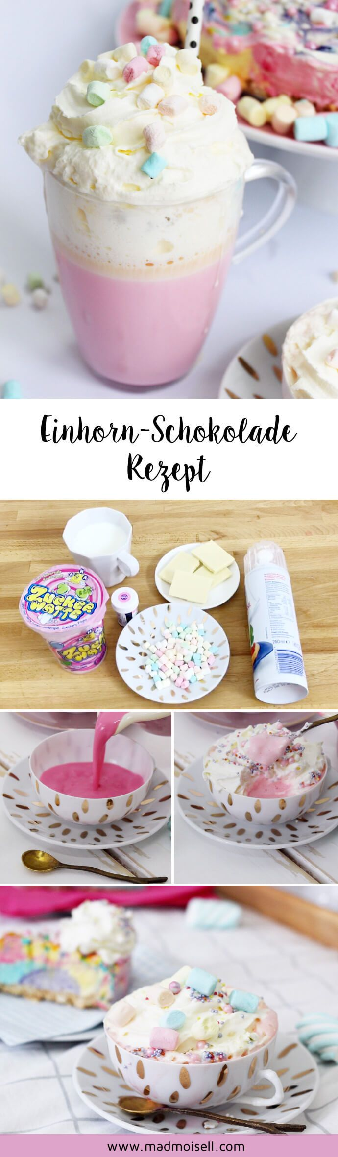 Make hot unicorn chocolate yourself: Simple party recipe!  – Madmoisell DIY Projekte⎪ Basteln & Selbermachen
