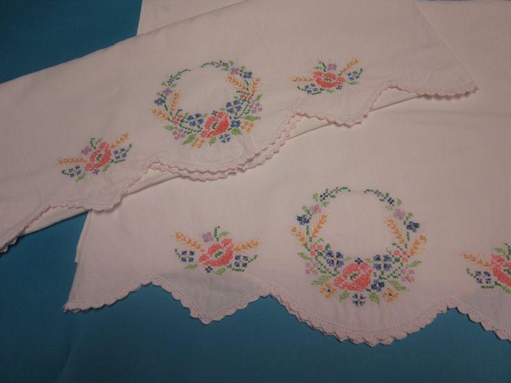 Vintage pillowcase set embroidered pillowcases flower pillowcase scallop edge pillowcase by DumplingnSweetheart on Etsy