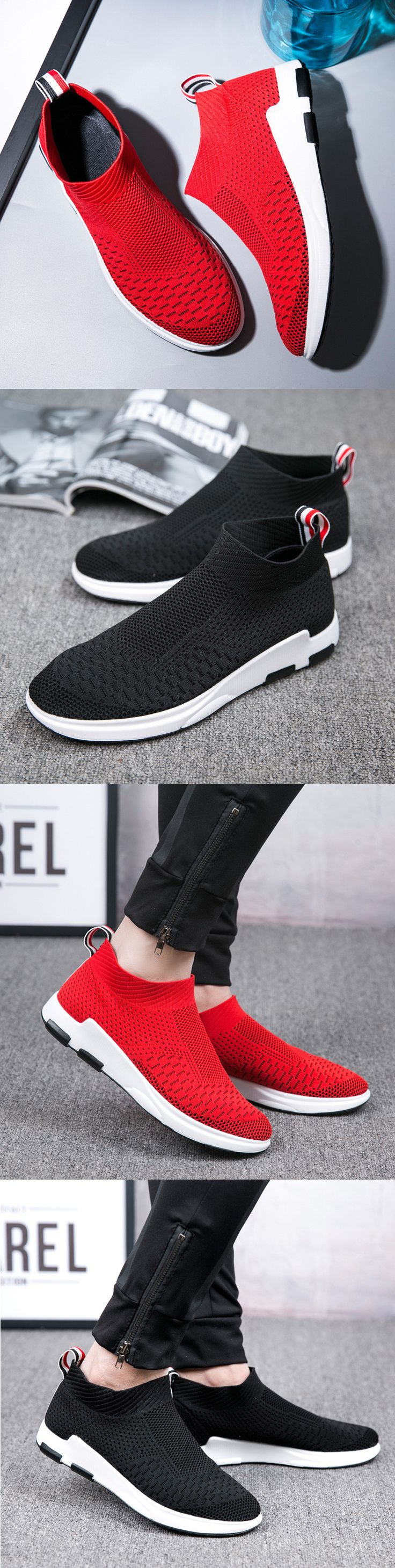 US$34.58 Men Flyknit Mesh Fabric Breathable Sock Trainers Sport Casual Sneakers