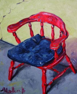 Red Chair - Original art oil painting on stretched canvas for sale online at StateoftheART Gallery